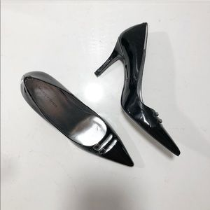 Marc Fisher black patent leather buckle toe pumps